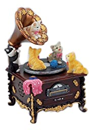 MusicBox Kingdom 14256 Gramophone with Playful Cats Music Box, Turns to The Melody \