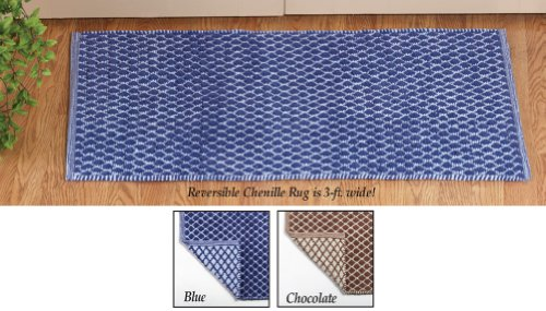 Reversible Lattice Pattern Chenille Rug Chocolate