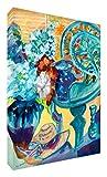 Feel Good Art Lienzo con los colores vivos abstracto parte del artista Val Johnson, diseño de flores, color blanco/Jarrón 30 x 20 x 4 cm, tamaño pequeño