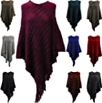 Ladies Wavy pattern knitted Poncho Ca...