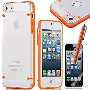 iPhone 5S Case, iPhone 5 Case, ULKA Case for Apple iPhone 5S 5 5G Solf TPU+Hard PC Ultra-Slim Glossy Cover with Screen Protector and Stylus (Orange)