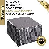 Alu-Beistelltisch-inkl-Plexiglasplatte-4-x-verstellbare-Fe-auch-als-Hocker-nutzbar-90-kg-ohne-Plexiglasplatte-zur-Kombination-Rattan-Sonnenliege-Liege-Lounge-aus-hochwertigem-Polyrattan-Farbe-Silber-G