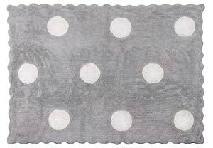Aratextil. Alfombra Infantil 100% Algodón lavable en lavadora Colección Topos Gris 120x160 cms marca Aratextil Hogar 26 S.L.