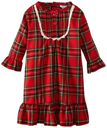Hartstrings Baby-Girls Infant Girl Flannel Long Sleeve Nightgown, Red Plaid, 12 Months