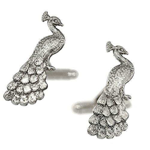 1928 Mens Peacock Cufflinks (Silver-Tone)