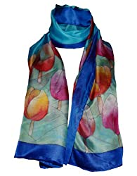 Hand-Painted Silk Scarf - Tulips