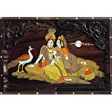 DollsofIndia Radha Krishna - Inlaid Wood Wall Hanging - 11 X 16 X 1.5 Inches