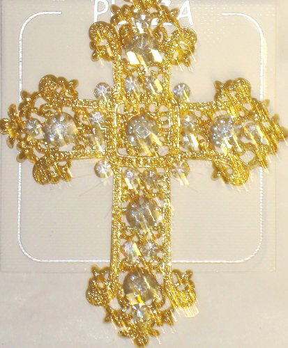 Genuine Gold Plated with Crystals and Other Simulated Jewels Cross Pin Brooch