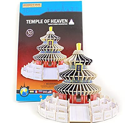 Coeus 3d Wooden Puzzle / DIY Model - Chinese Architectures- Temple of Heaven-educational Games for Kids / 3d Puzzles for Adults
