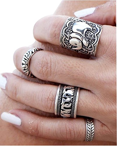 Voberry® Gioielli Anello da Donna, Vintage Fashion argento dell'elefante comune Knuckle Nail Ring Set di 4 anelli