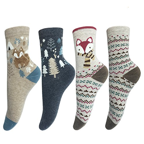 lotuyacy-cute-animal-designe-womens-casual-comfortable-cotton-crew-socks-4-pack-fox