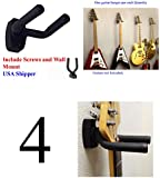 4-PACK Top Stage® Guitar Hanger Hook Holder Wall Mount Display, Fit most guitars, w/Mounting Hardware