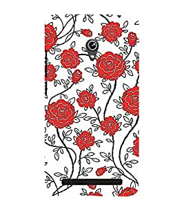 red and white floral pattern 3D Hard Polycarbonate Designer Back Case Cover for Asus Zenfone 6 A601CG :: Asus Zenfone 6 A600CG