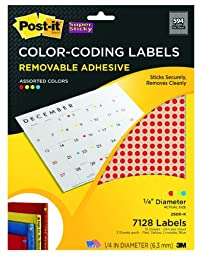 Post-it Super Sticky Removable Color Coding Round Labels, 0.25-inch Diameter, Assorted Colors, 7128 per Pack (2500-K)