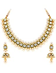 Sukkhi Gleaming Gold Plated Princess Cut AD Solitaire Necklace Set For Women