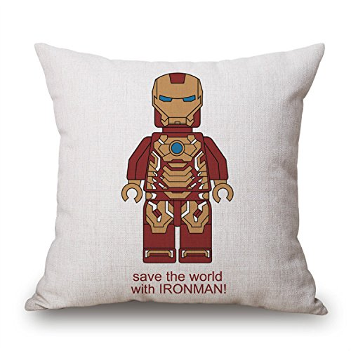 Home Ware Save The World With Ironman Pillow Covers Car Bed Sofa Cushion Cover Throw pillow Square Cotton Linen Pillowcase Decorative 18 x 18 Inch