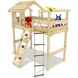 WICKEY Hochbett Jungle Hut Kinderbett Etagenbett Spielbett inkl. Lattenboden 90x200cm