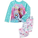 DISNEY Frozen Girls Anna and Elsa 2 Piece Pajama Set, Long Sleeves - Fleece Pant