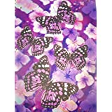 IDimension Poly Lenticular Cover Notebook ~ Purple Butterflies On Purple And White Flowers (70 Sheet