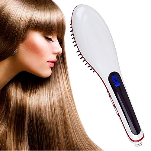 2015 New Professional Straightening Irons Brush Hair Straightener with LCD Display Electric Straight Hair Comb Straightener Iron (White)