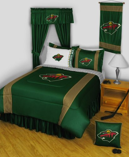 Minnesota Wild FULL Size 9 Pc Bedding Set (Comforter, Sheet Set, 2 Pillow Cases, 2 Shams, Bedskirt & Matching Wall Hanging) - SAVE BIG ON BUNDLING! promotion 6pcs baby crib bedding set for girl boys bedding set kids cot bumper baby cot sets include 4bumpers sheet pillow