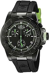 Invicta Men's 12156 Pro-Diver Chronograph Black Dial Black Polyurethane Watch with Blue Impact Case