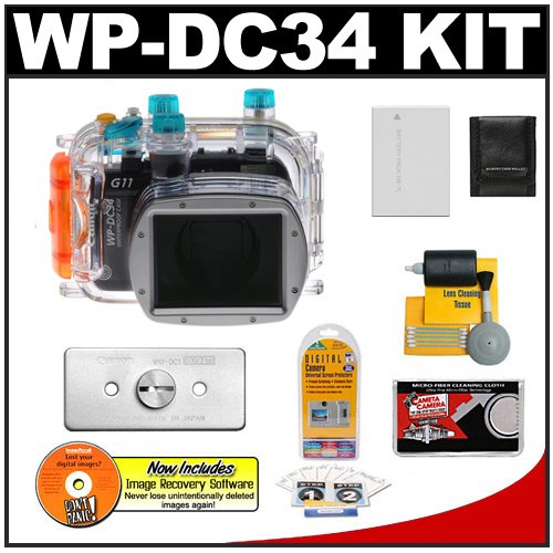 Canon WP-DC34 Waterproof Underwater Housing Case with Battery + WW-DC1 Weights + Accessory Kit for PowerShot G11 & G12 Digital Camera