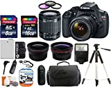 Canon EOS Rebel T5 18.0 MP CMOS Digital Camera SLR Kit With Canon EF-S 18-55mm IS II + Wide-Angle Lens + Telephoto Lens + 8GB and 16GB Card + Card Reader + Case + Battery + Flash + Tripod + Remote + 58mm Filter Kit - 24GB Deluxe Accessories Bundle