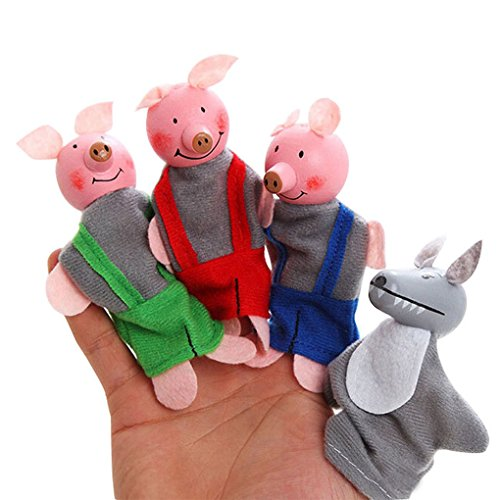 Set-of-4-Pcs-Three-Little-Pigs-and-The-Wolf-Finger-Puppet-Kids-Toy-Educational-Toys-Storytelling-Doll