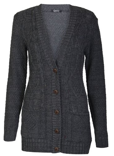 Aislinn Womens Cable Knitted Grandad Button Cardigan One Size (Uk Fits 8-14) Charcoal front-1034051