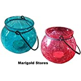 Red & Blue Crackled Glass Decorative Designer Lantern Tealight Holder - Set Of 2
