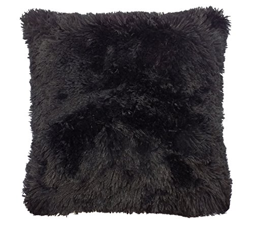 super-suave-pelo-de-imitacion-negro-grueso-sedoso-funda-de-cojin-18-45cm