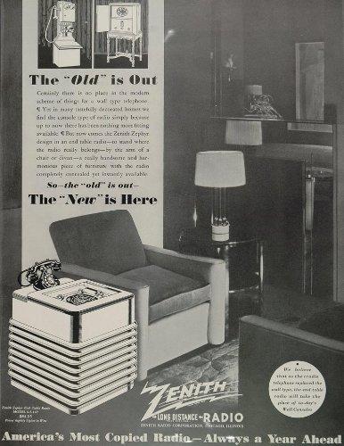 Cheap 1936 Ad Zenith Zephyr End Table Radio Model 6-S-147 – Original Print Ad (B005DGO5Z2)