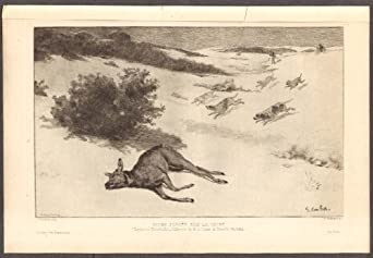 Gustave Courbet Biche Forcee sur la Neige etching 1889