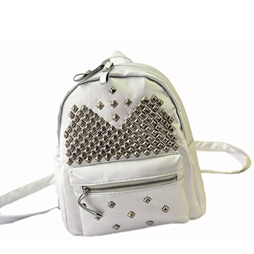 BEIER discount duty free BEIER® New PU leather Student Backpack Personality Rivet Fashion bags 2015-SPRING43 (silver)