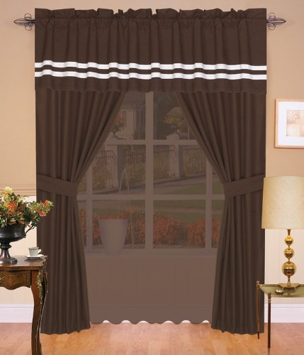 Hotel Collection Block Curtain Set Chocolate