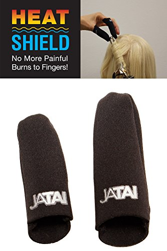 JATAI Heat Shield - Thermal Finger Protection Guards for Curling and Flat Irons, Wands, Blow Dryers - 2pc (Thumb & Finger) (S/M - thumb 3/4