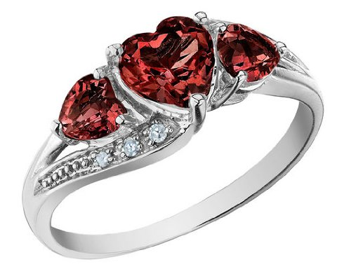 Garnet Heart Ring with Diamonds 1.43 Carat (ctw) in 10K White Gold, Size 5