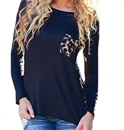 Oulifa Women Sexy Colorblock Leopard Bust Pocket O-neck Long Sleeve T-shirt Tops