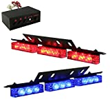 18 x Ultra Bright Blue and Red LED Emergency Warning Use Flashing Strobe Lights Bar For Windshield Dash Grille