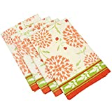 Table Linens Napkins Cotton Peach Flowers Green Leaves Decor Indian Set of 4