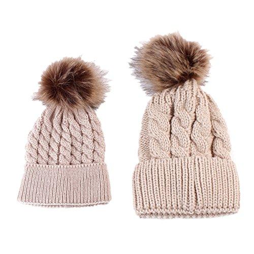 puseky-family-hats-motherbaby-winter-warm-knit-hat-crochet-pom-pom-beanie-cap-khaki