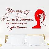 John Lennon IMAGINE Lyrics , wall sticker, decal, quote, Transfer, Bedroom, mural, new design! -LARGE -SIZE 120cm x 60cm -Red