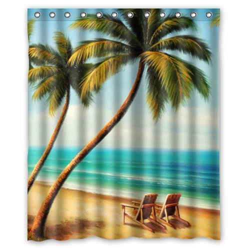 Beach Chairs Waterproof Bathroom Fabric Shower Curtain