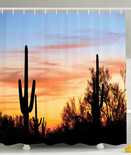 Western Shower Curtain by Ambesonne, Cactus Plant Decor Organ Pipe National Monument Mexican Symbol Natural Life for Style Bathroom Decorations Modern Art Photo Decorative, Blue Orange Black (Southwestern Shower Curtain compare prices)