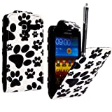 GSDSTYLEYOURMOBILE {TM} SAMSUNG GALAXY S3 S III MINI I8190 PU LEATHER MAGNETIC FLIP CASE SKIN COVER POUCH + GUARD +STYLUS (Dog Cat Paw Foot)