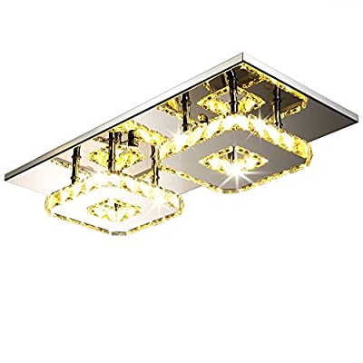 Fuloon 12W/24W Modern Crystal LED Ceiling Light Pendant Flush Lamp Stainless Steel Chandelier Decor Perfect for Hallway/ Stairway/ Bedroom/Dining Room
