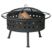 Uniflame 32 in. Round Wood Burning Fire Bowl with Lattice Design