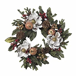 Nearly Natural 4923 Magnolia Pinecone and Berry Wreath, 24-Inch, White