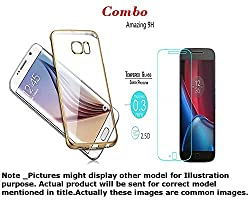 INFINITO (TM) Combo Of Golden Border Soft Transparent Back Cover & Premium 2.5D Curved Tempered Glass For LE TV Max